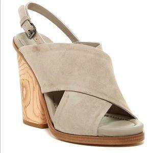 VINCE cross strap suede wedges with wood heel